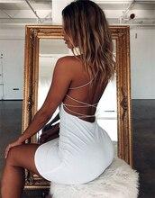 Femmes Sexy moulante robes de soirée dos nu bretelles Spaghetti Clubwear Mini robe col bas livraison directe