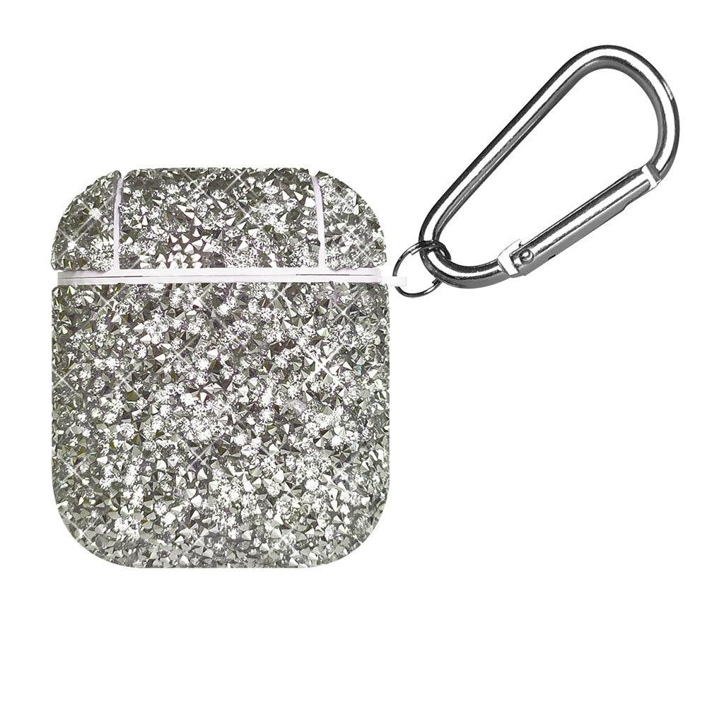 Para Airpods 1/2 lujo brillante diamante de imitación Pc duro Bluetooth auriculares caja Bling Flash caso Rhinestone Hard Shell para Air Pods12 funda