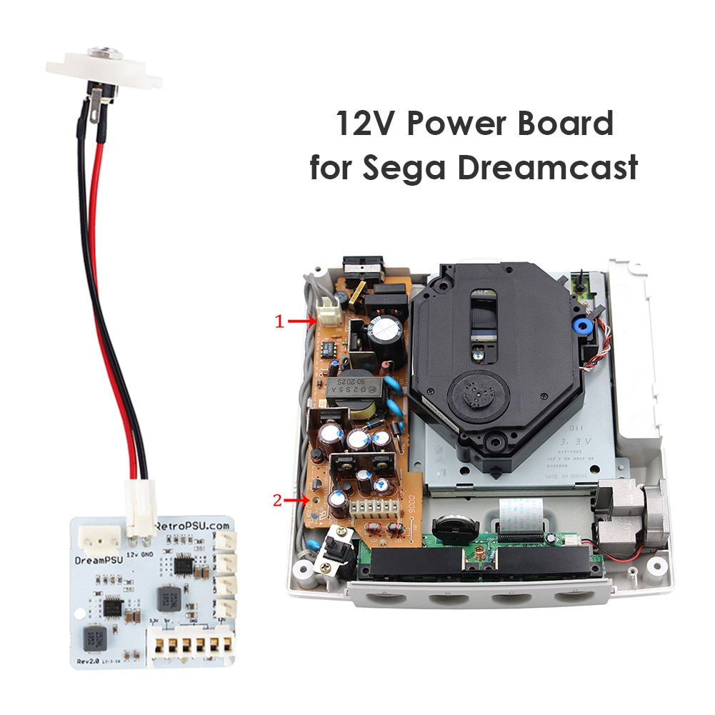 مصدر طاقة 12 فولت من DreamPSU Rev2.0 ، ملحقات الآلة الإلكترونية ، تعديل مناسب لـ SEGA DreamCast ، قطع غيار وحدة التحكم