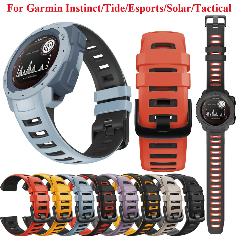 Silicone Watch Band Strap for Garmin Instinct/Esports/Tide/Solar Smart Watch Replacement Band Wristband Wrist Smart watch Strap