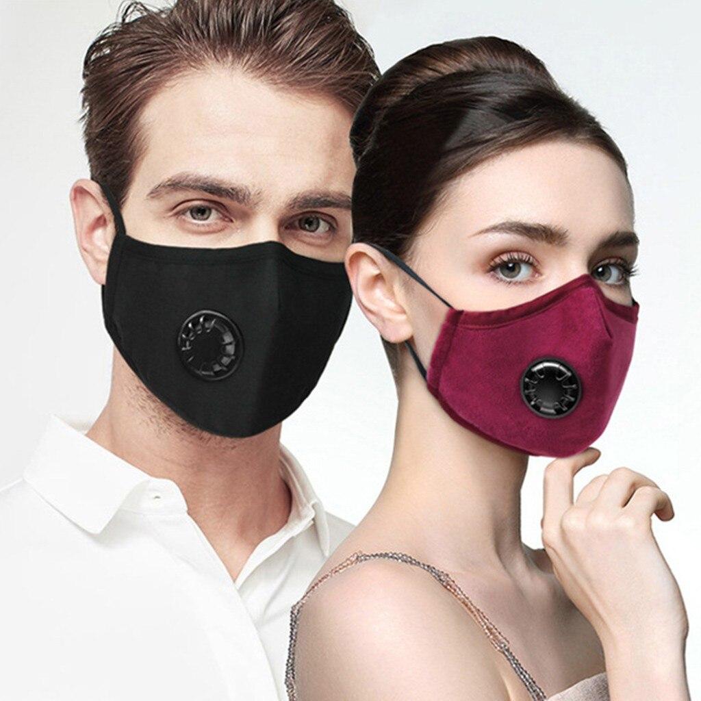 Unisexe réutilisable masque coton masque PM2.5 coupe-vent brumeux brume Pollution avec-Valve souffle lavable visage tissu bouclier avec filtres