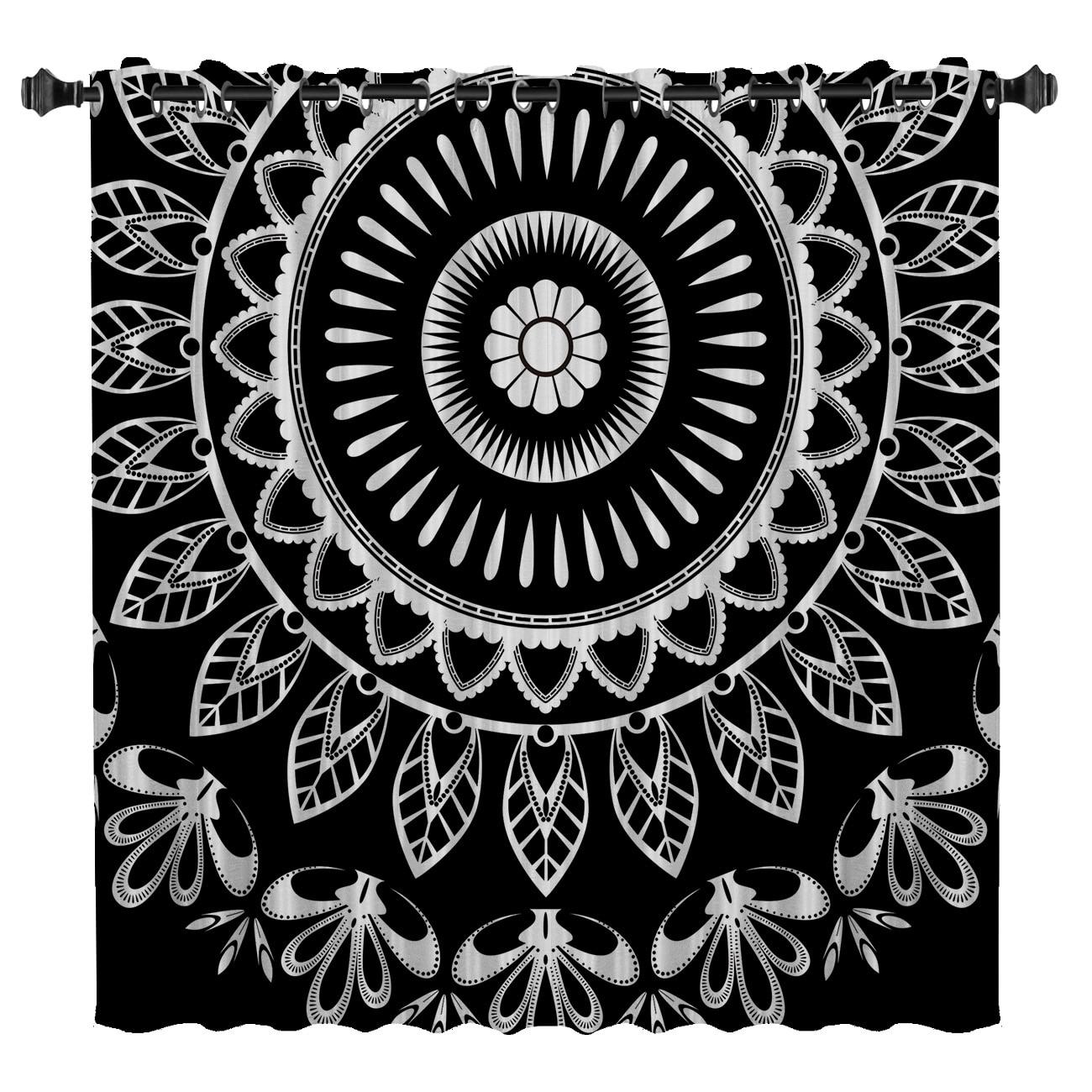 Mandala Datura budismo étnico cortinas de ventana oscuro salón cortinas de habitación baño cocina decoración de tela niños TRATAMIENTO DE VENTANA