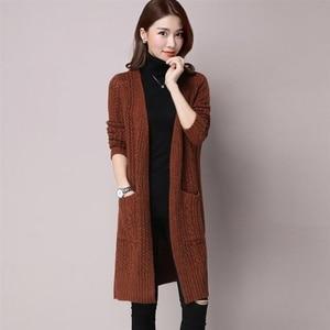 2021 Medium-Long Cardigan Sweater Women Autumn Winter Hollow Out Knit Open Stitch V-Neck Long Sleeve Pocket Jumper Tops