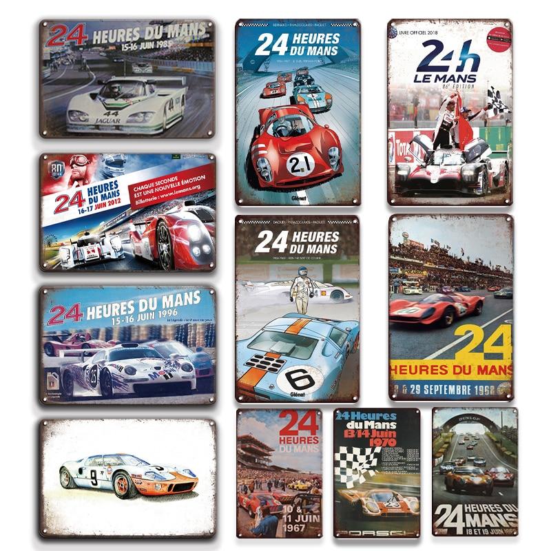 France Le Mans 24 Hour Endurance Race Metal Poster Vintage Heures Du Tin Sign Personality Road Decor Plate
