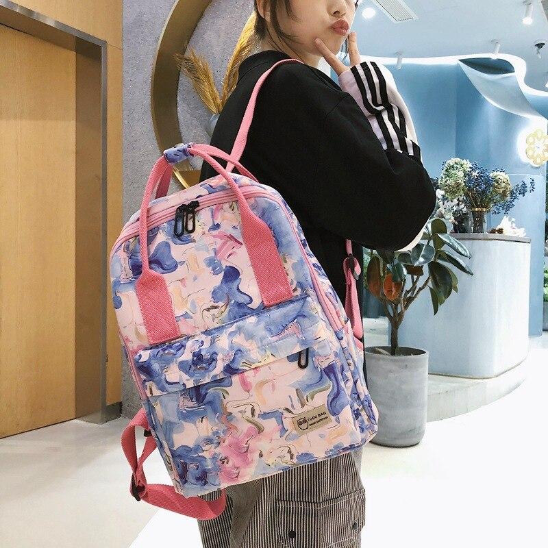 Модный дизайнерский женский рюкзак с принтом листьев, школьные ранцы для подростков, нейлоновый рюкзак для ноутбука 2021, женский рюкзак, нов...