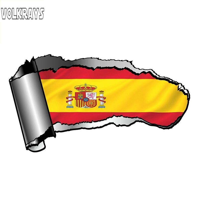 Pegatina creativa de coche volkays con diseño rasgado de Metal rasgado con bandera de España, España, país, vinilo, 20cm * 10cm