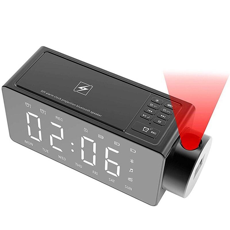 Altavoz Bluetooth con despertador de fácil proyección con carga inalámbrica tono de llamada Diy, de un clic Snooze, altavoz de llamadas Bluetooth, Radio Fm