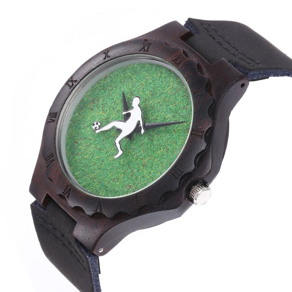 Explosive watch quartz wood watch green grass football sports wooden watch ebony men's belt watch woman watch