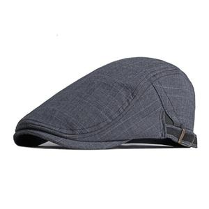 Cotton Spring Summer Fashion Solid Color Plaid Newsboy Caps Flat Peaked Cap Men and Women Painter Beret Hats 135