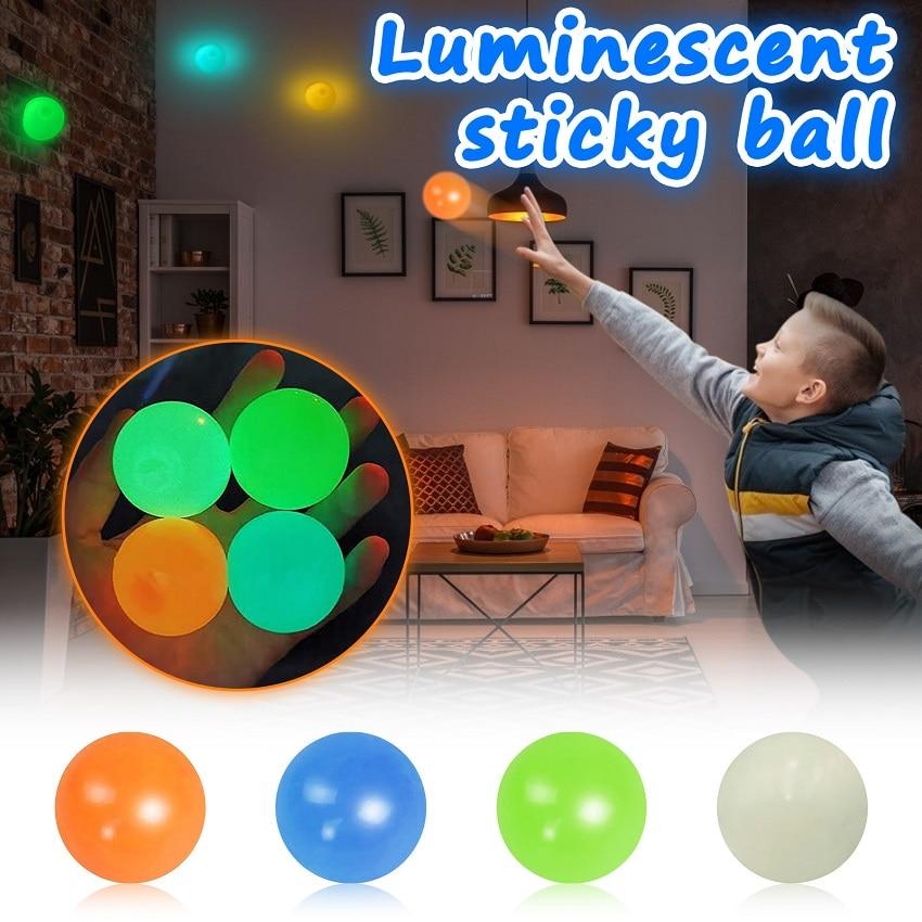 4 шт. настенный светящийся шарик, игрушка-антистресс, сквош, Рождественская клейкая мишень, мяч для снятия стресса, новинка, подарок для дете...