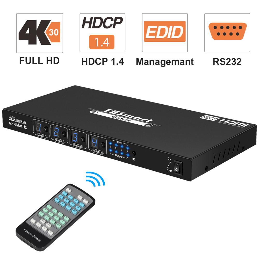 4x4 مفتاح تبديل HDMI مجزأ هدمي مصفوفة 4x4 4 منافذ المدخلات و 4 منفذ المخرجات مع RS232 يدعم الترا هد 4K x 2K @ 30HZ ، هدcp1.3 ، ثلاثية الأبعاد
