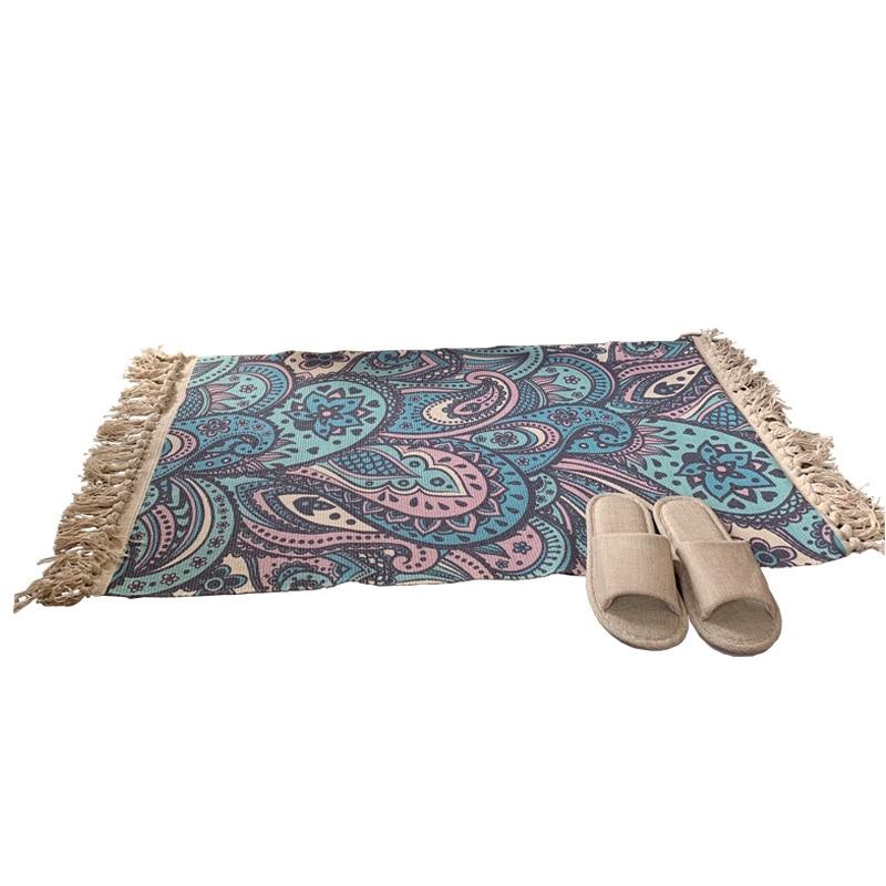 Woven Cotton Throw Rug Tassel Rug Kitchen Laundry Doorway Bedroom Bohemian Rag Rug Tribal Pattern Washable Decorative Hand Woven