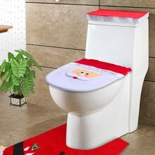 Housse de siège de toilette de noël   Set de siège fantaisie de père noël couvercle de siège de toilette, ensemble de tapis de Contour, fournitures de salle de bain de noël décoration cm