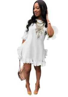 Women´s Ruffle Boho Dress Round Neck Short Sleeve Loose Summer Party Dresses Plus Size Female Casual Clothing S-3XL