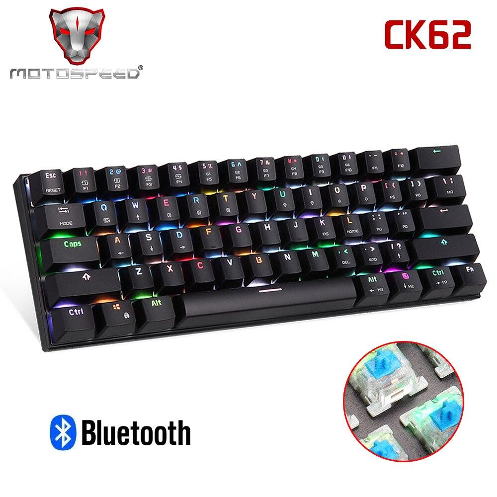 MOTOSPEED CK62 Bluetooth механическая клавиатура RGB игровая клавиатура с синим переключателем ключи от привидения для компьютера TV BOX PK CK104