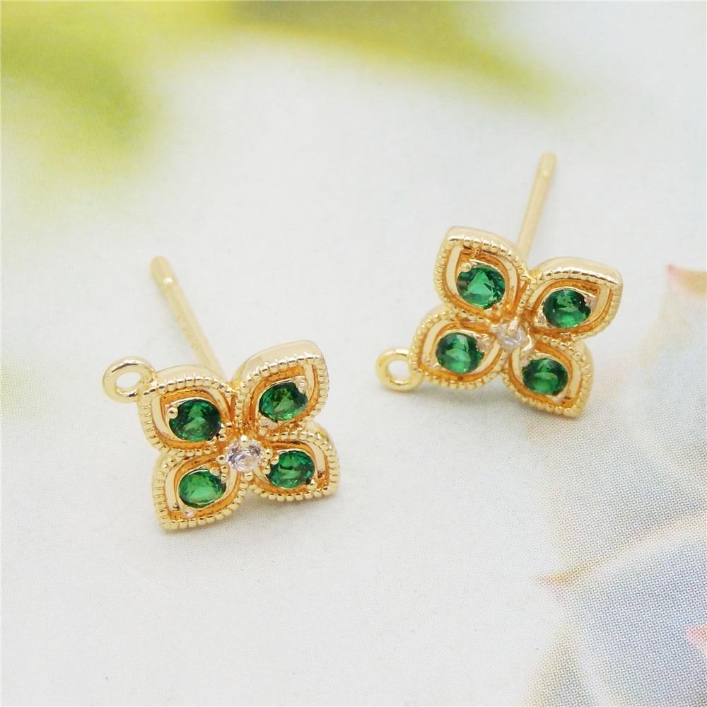 2pcs Flower Shape Green Zircon Rhinestone Post Earring Findings DIY Earrings Jewelry Components 24k Gold Plated