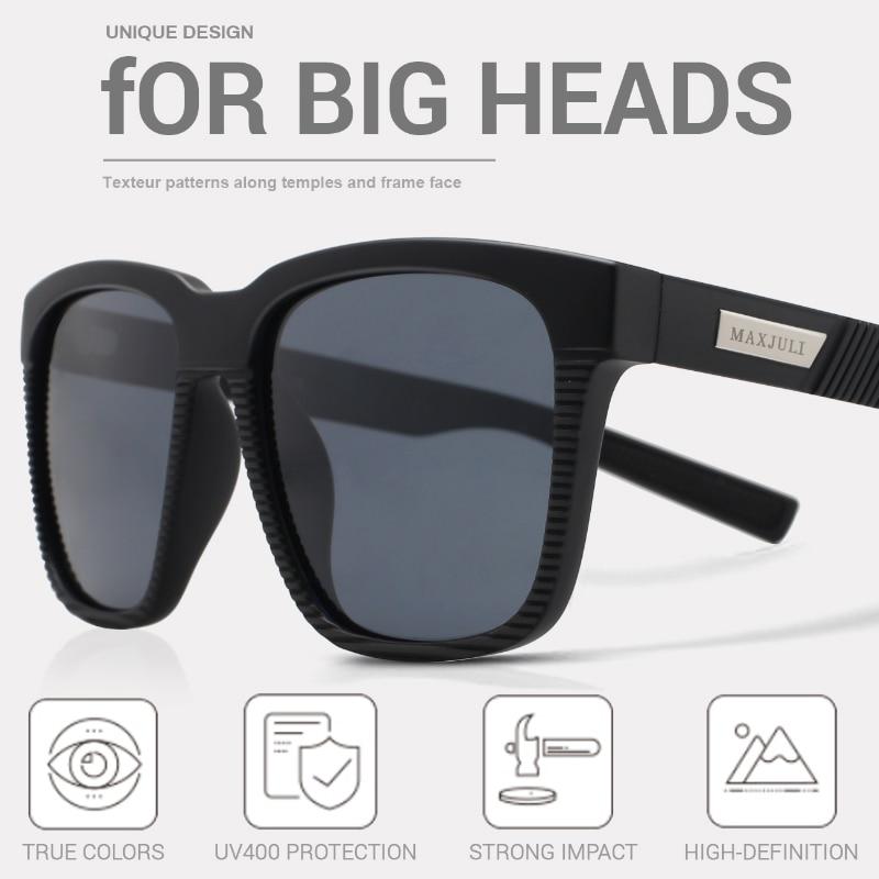 JULI Square Oversized Polarized Sunglasses for Big Heads Men Retro Vintage Sun Glasses UV Protection