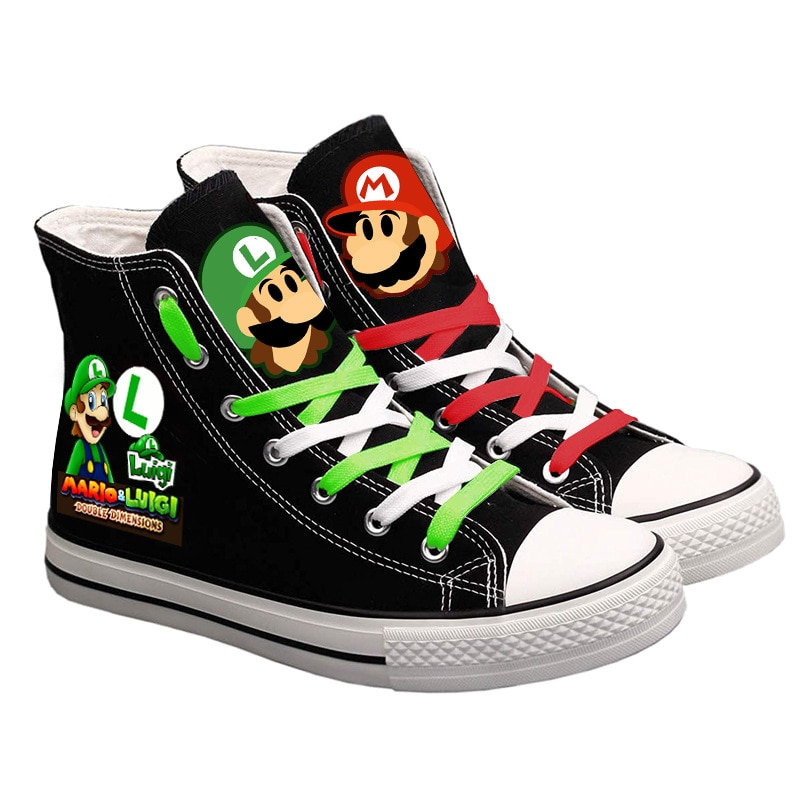 Cute Super Mario Printed Sneakers Shoes Women Men Canvas Shoes Cartoon Casual Shoes Teenagers Studen