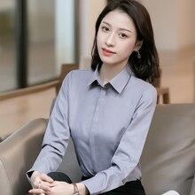 Femmes basique à manches longues dissimulé bouton Placket robe chemises dames bureau formel mince-fit Blouses hauts Blusa travail Social chemise