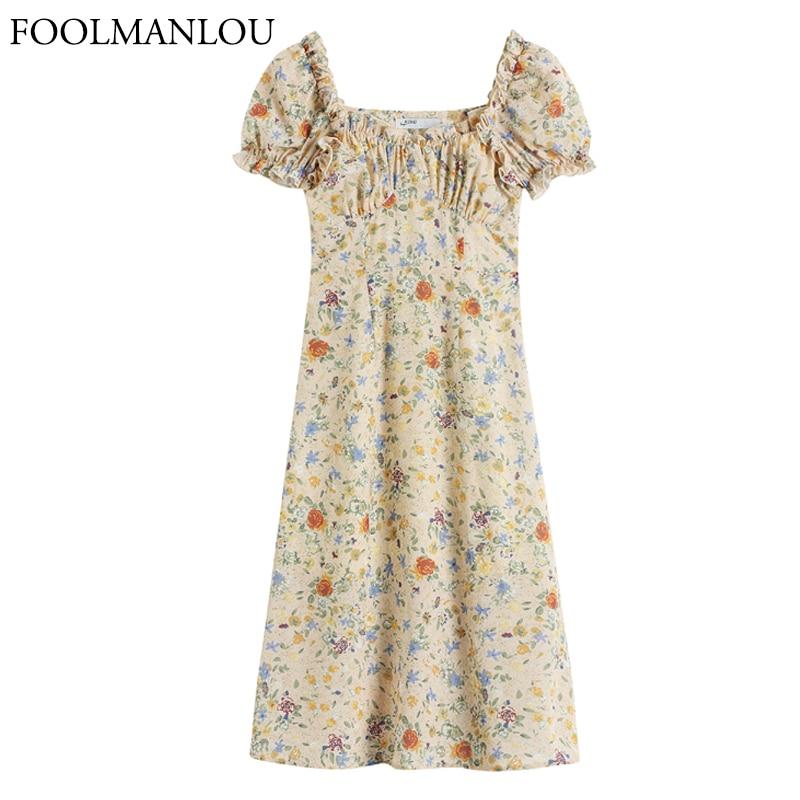 Women Dress Vintage Print Pattern Short Sleeve Dress 2021 Fashion Spring Summer High Wiast Floral Pu