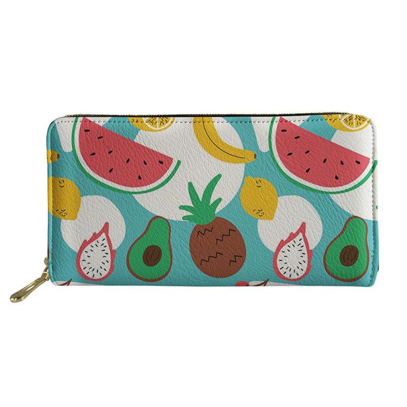 Cartera HYCOOL para mujer con diseño de fruta sandía Limón, monedero de Cremallera larga para mujer, monedero, tarjetero, monedero, bolso de mano a la moda para mujer
