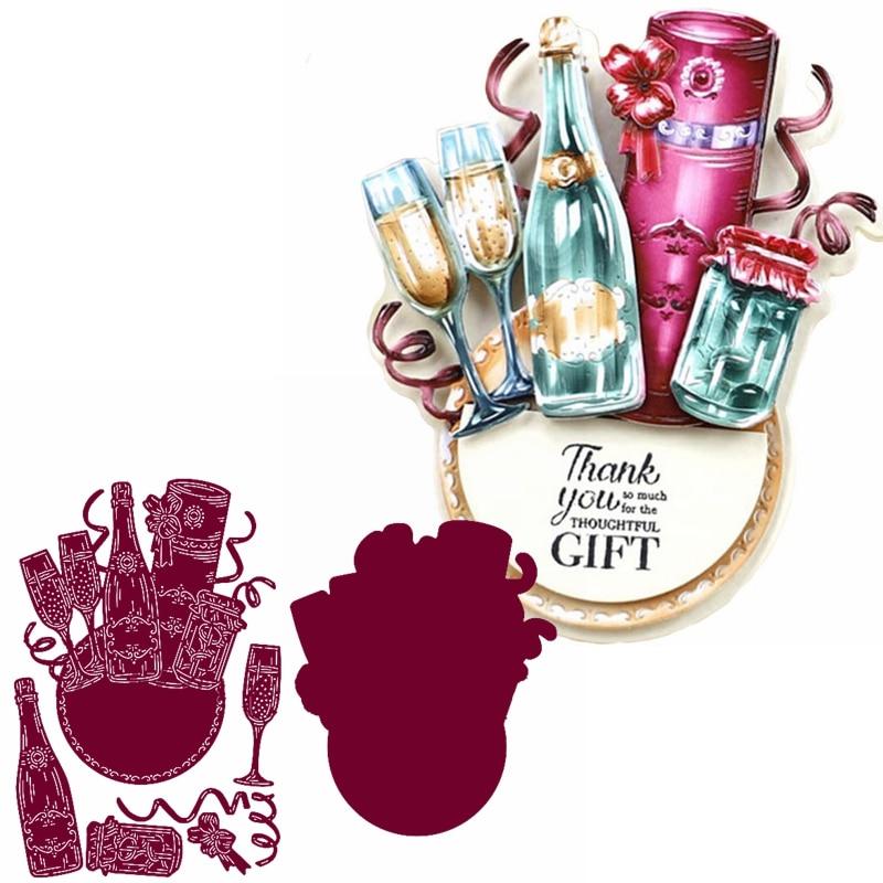 Праздничный шампанское металлический Трафаретный вырубной штамп для тостов пресс-формы для изготовления открыток DIY Украшение для альбома...