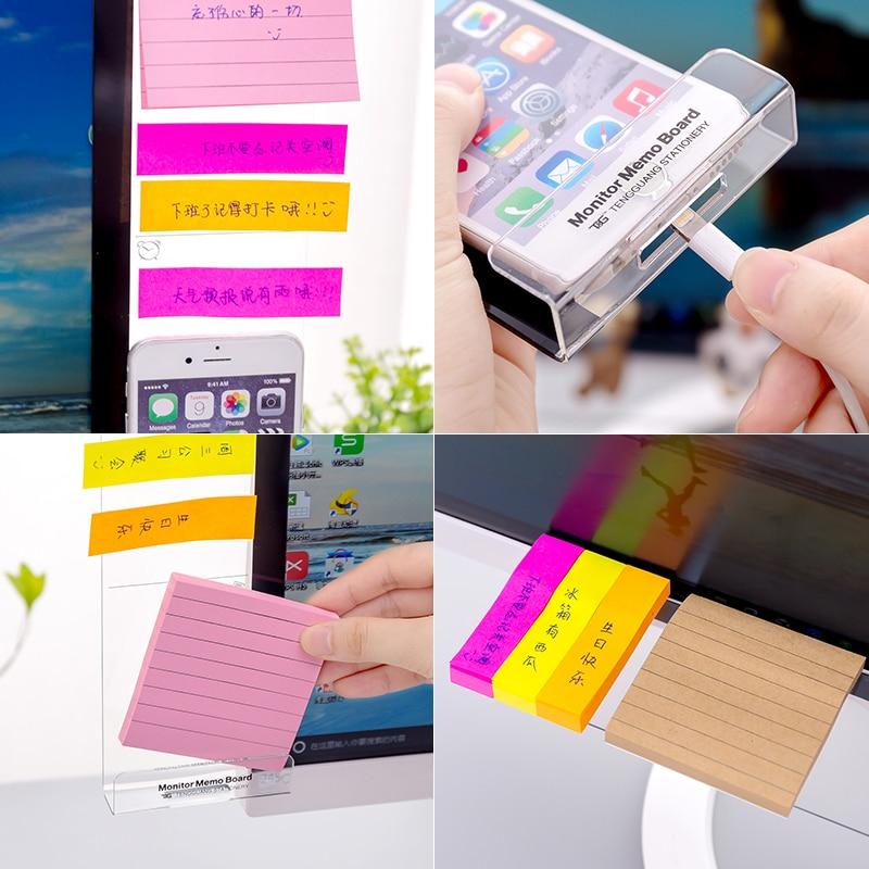 Creativa computadora Monitor pantalla Adhesivo acrílico notas adhesivas agujero de carga teléfono móvil titular marcapáginas nota tablero de mensajes