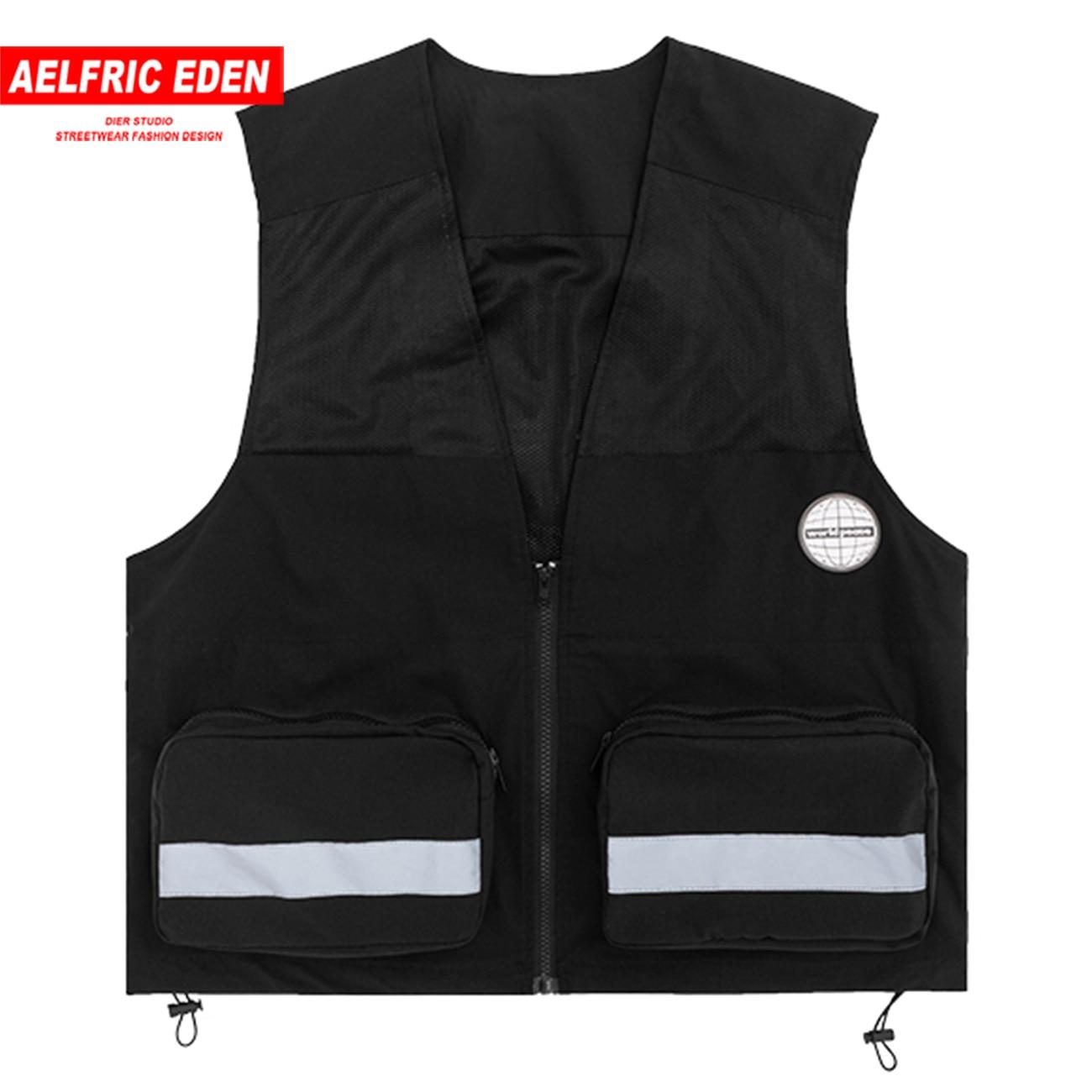 Aelfric Eden Hip Hop 3M reflectante Cargo chalecos hombres 2020 Streetwear bolsillos de almazuela táctico monos moda sin mangas abrigos