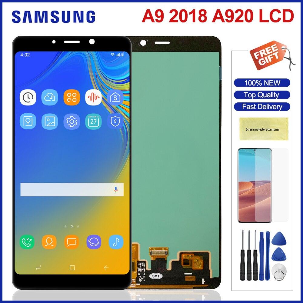 Amoled شاشة لسامسونج غالاكسي A9 2018 LCD عرض تعمل باللمس محول الأرقام لسامسونج A9s A9 ستار برو SM-A920F/DS A920 lcd