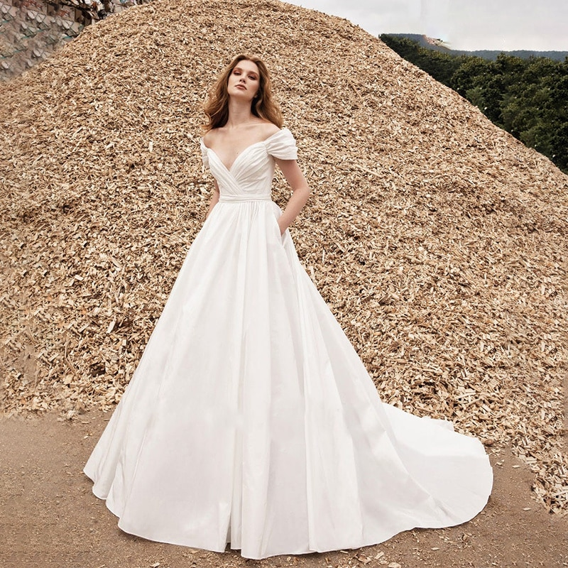 Promo Off The Shoulder Ruched Wedding Ball Gowns With Pockets Criss Cross Pleats Custom Made Plus Size Simple Low Cut Bridal Dresses