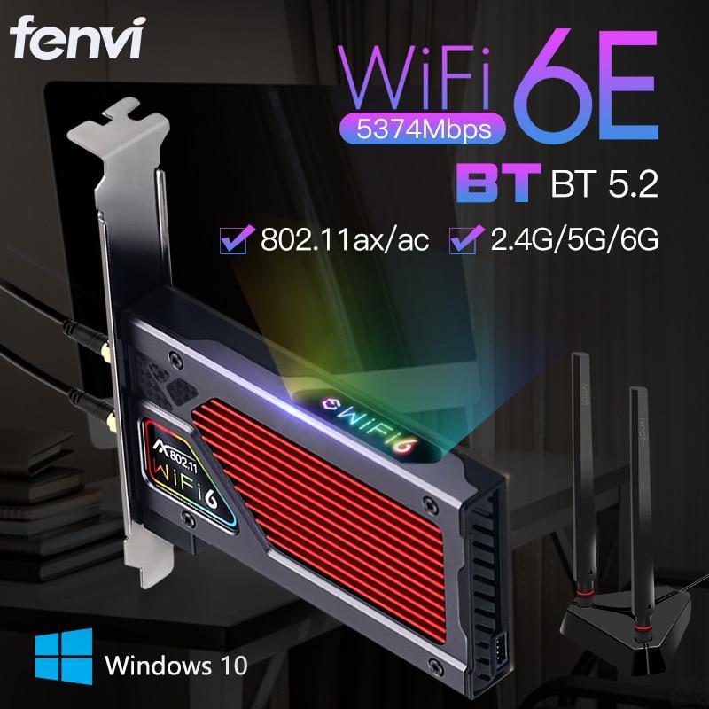 Адаптер сетевой Fenvi FV-AXE3000 Wi-Fi 6E AX210, Bluetooth 5374, 2,4 Мбит/с, 802 ГГц/5 ГГц/6 ГГц, Wi-Fi. 11AX/AC PCIExpress