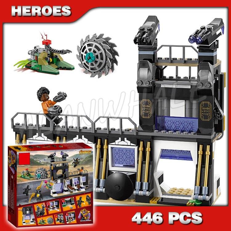 Bloques de Juguetes de bloques de construcción modelo 446 Uds. Superhéroes Pantera Negra Corvus Glaive Thresher Attack 10838 compatibles con Lego