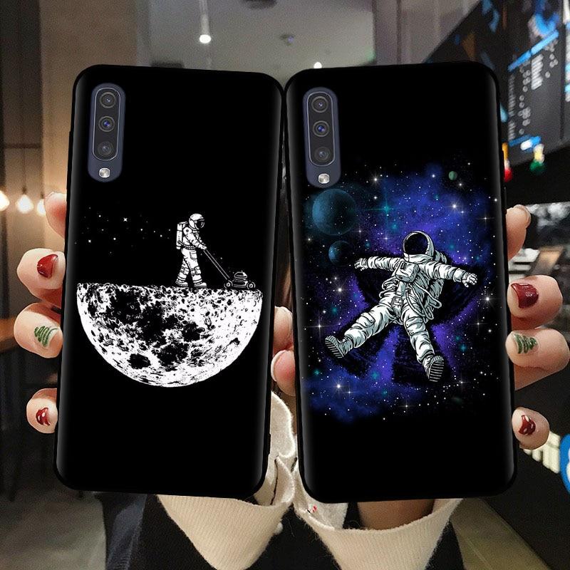 Space Moon Astronaut Case For Samsung A10 A20 A30 A40 A50 A70 A51 A71 A6 A7 A8 A9 Plus 2018 Cases Black Painted Phone Cover Capa