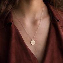 Pièces de monnaie Collier fait à la main Collier Initial disque tour de cou or rempli nom pendentifs Collier Femme Kolye bijoux Boho Collier