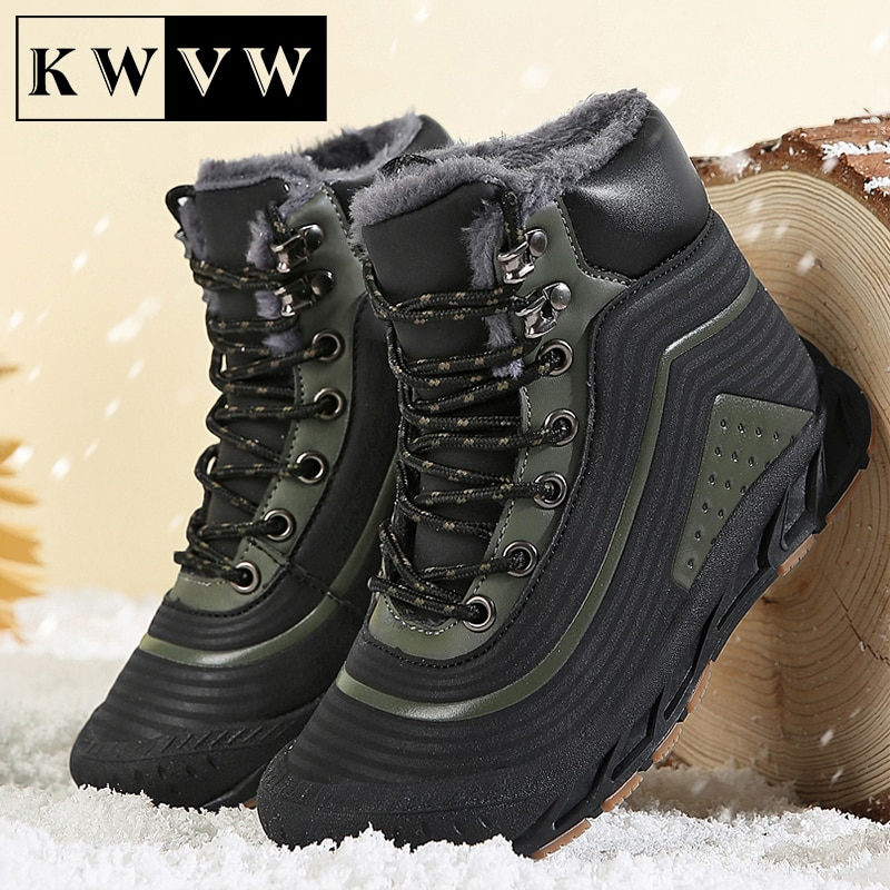 Bottines en velours pour enfants, chaussures de neige chaudes d'hiver en cuir sténopé respirant, bottes de Sport décontractées pour garçons, fournitures pour activités