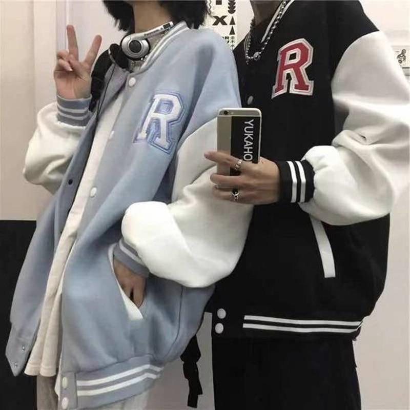 College Style Baseball Uniform Jacket Women 2021 Spring Autumn Korean Student Casual Coat Loose Hara