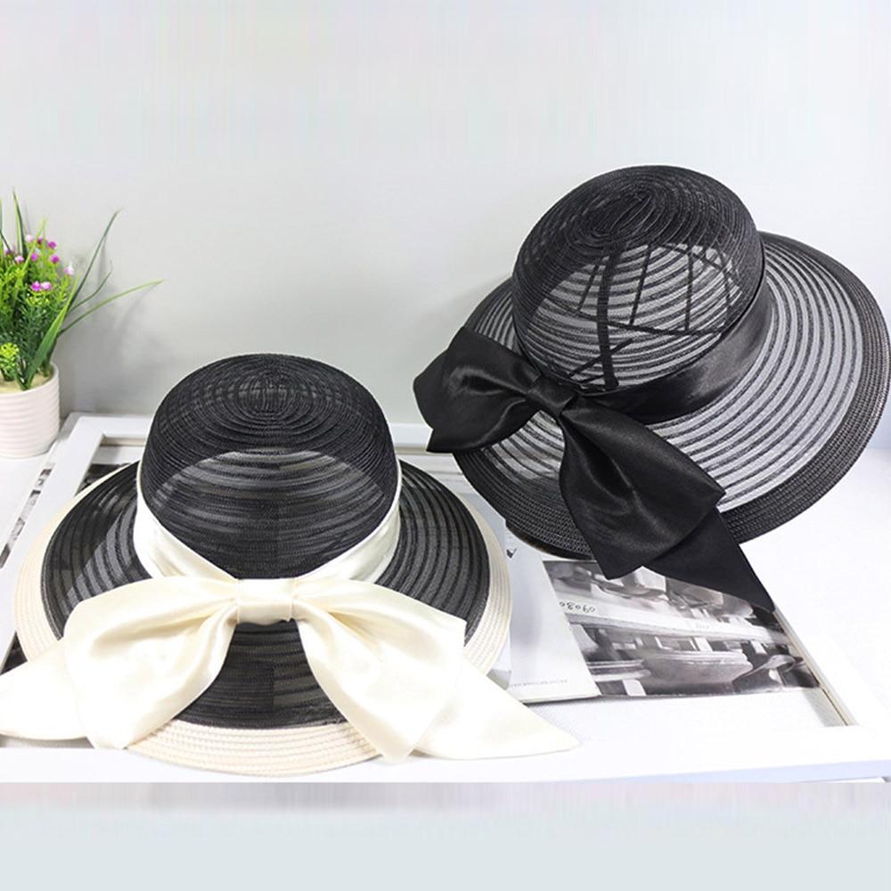 Sombreros de verano para mujeres blanco negro cinta de lazo anudado sombreros con rayas señoras sombrero de ala ancha sol disquete Iglesia Derbi Kentucky vestido Fedora