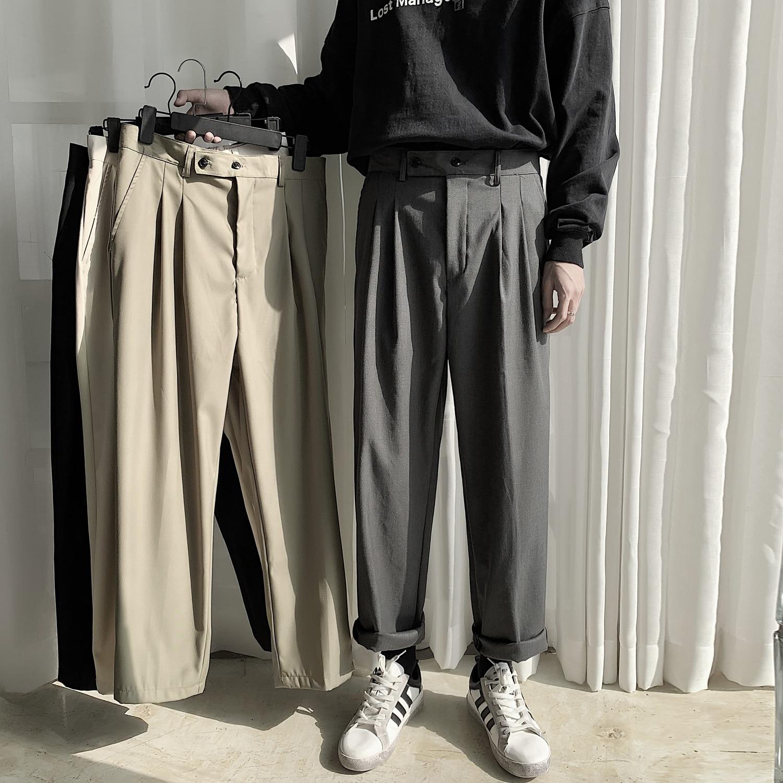 2021 الرجال الترفيه النمط الغربي الذكور السراويل دعوى سراويل تقليدية بلازير الموضة الرسمية الأعمال تصميم القطن دعوى السراويل M-2xl