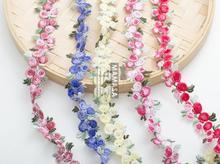 2 Yards Delicate Bunte Kirsche Spitze Trim Mesh Spitze Nähen Blume Stickerei Spitze Trim DIY Handwerk 2cm Breite