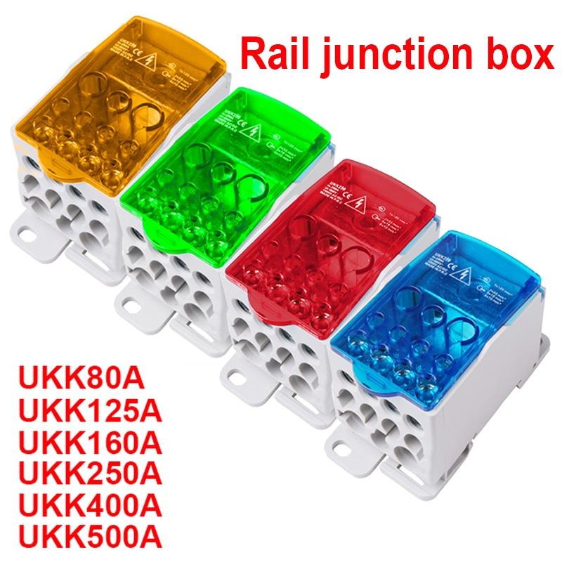 AliExpress - 1Pcs UKK80A UKK125A UKK160A UKK250A UKK400A UKK500A Terminal Block 1 in many Out Din Rail distribution Box