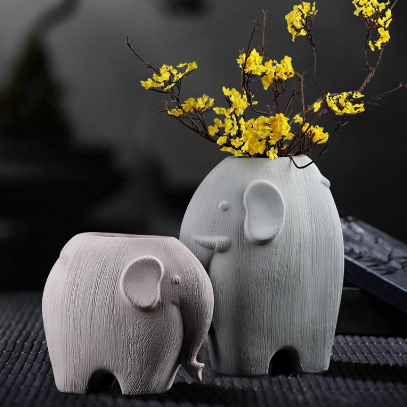 Retro Elephant Ceramic Vase Living Room Art Vase Home Room Decor Nordic Vase Decoration Maison Small Ornaments Home Vase DA60HP