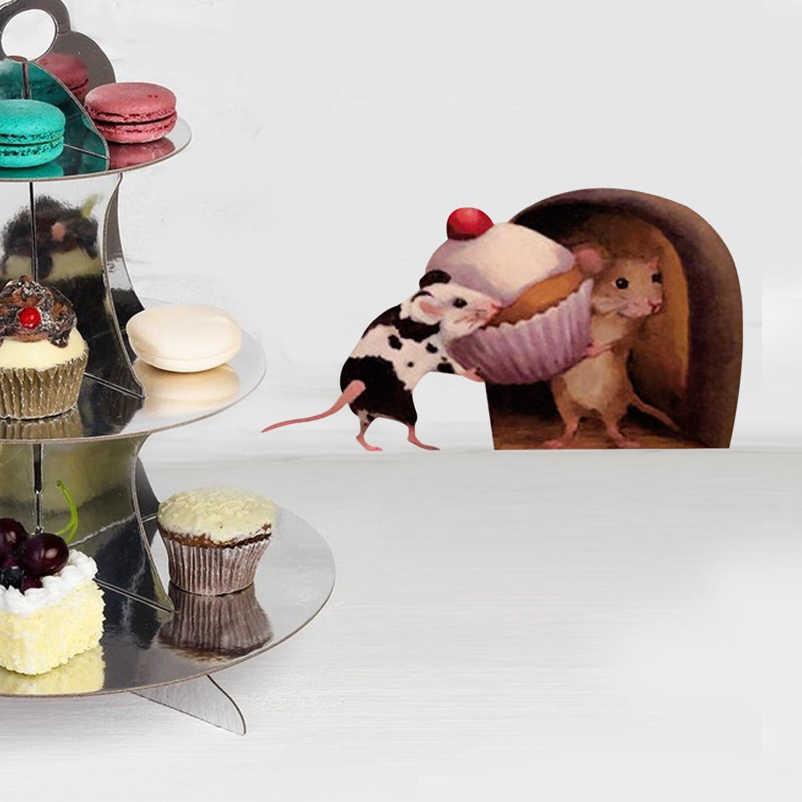 5 uds 3d etiqueta de la Pared de ratón de dibujos animados...