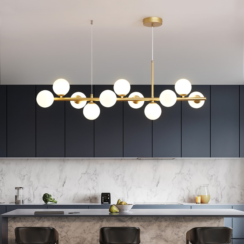 Nordic lighting modern minimalist living room chandelier bedroom dining room light simple molecular personality net red magic be