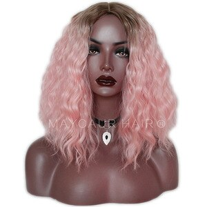Maycaur Short Curly Pink Heat Resistant Soft Fiber Synthetic Fiber Hair Wigs Natural Hairstyle For Black Women