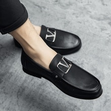 Newest Men PU Leather Fashion Low Heel Slip-on Casual Dress Shoes Spring Ankle Male Design Loafers Z