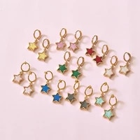 multicolor zinc alloy charm star drop earrings for women fashion acrylic round dangle jewelry mothers day gift