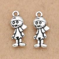 20pcs tibetan silver plated boy charm pendant for jewelry making bracelet earrings accessories diy 18x8mm