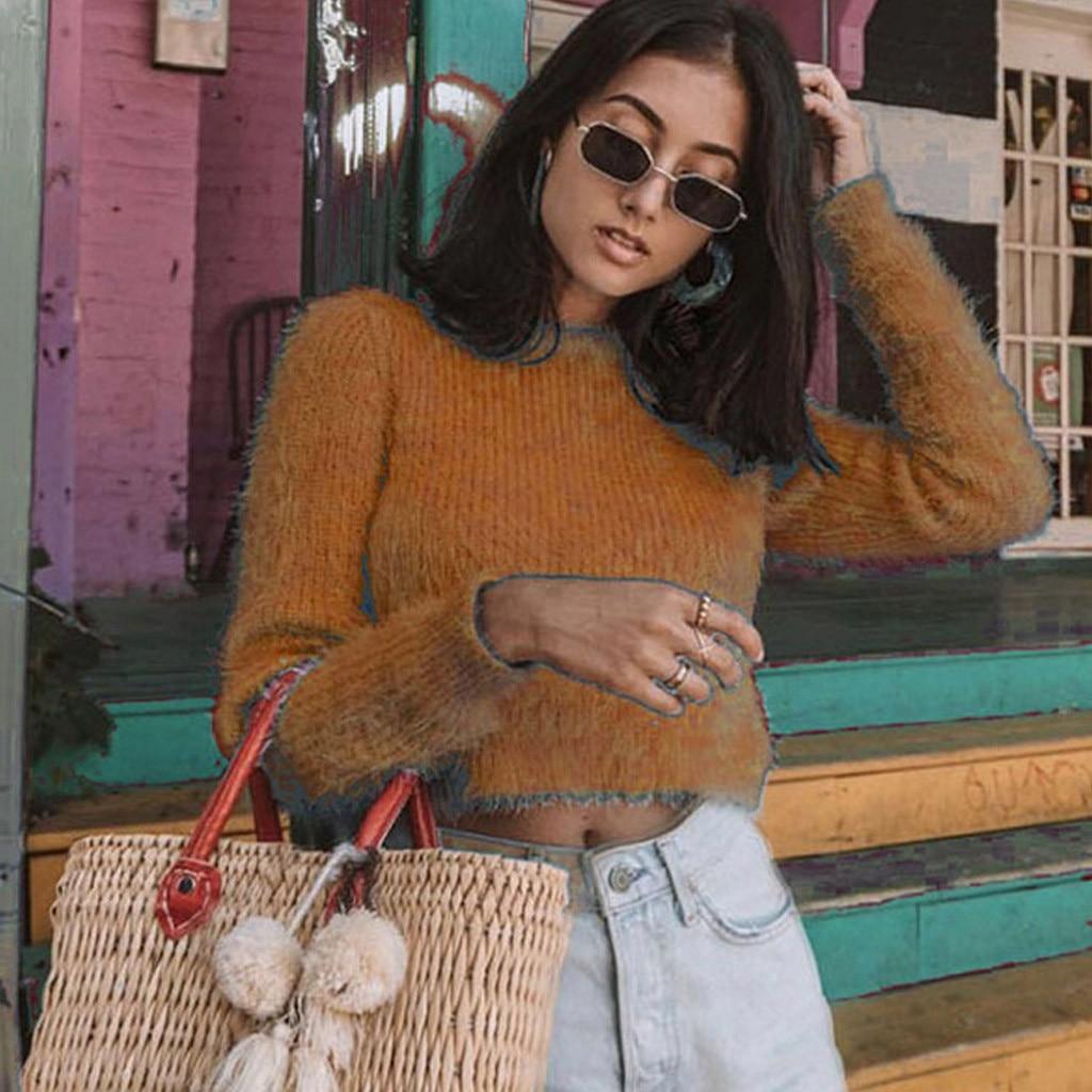 Mujer señora cuello redondo suéter Casual sólido suelto manga larga Tops Delgado Fit pulóver pull femme nouveaute 2019 swetry damskie W909
