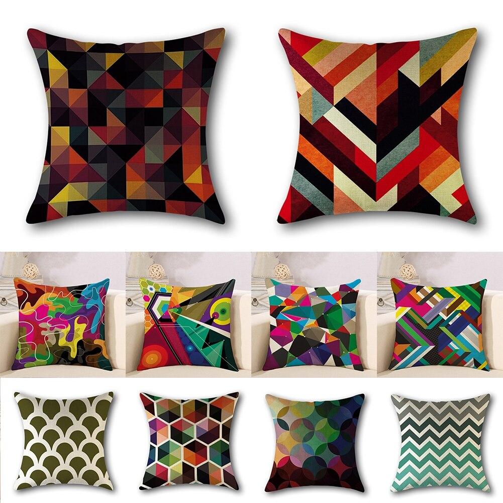 45X45CM Abstract Geometric  Throw Pillow Case Sofa Cushion Cover Home Decorative 45x45cm home fashion linen sofa cushion cover fabric pillow case solid color cushion decorative
