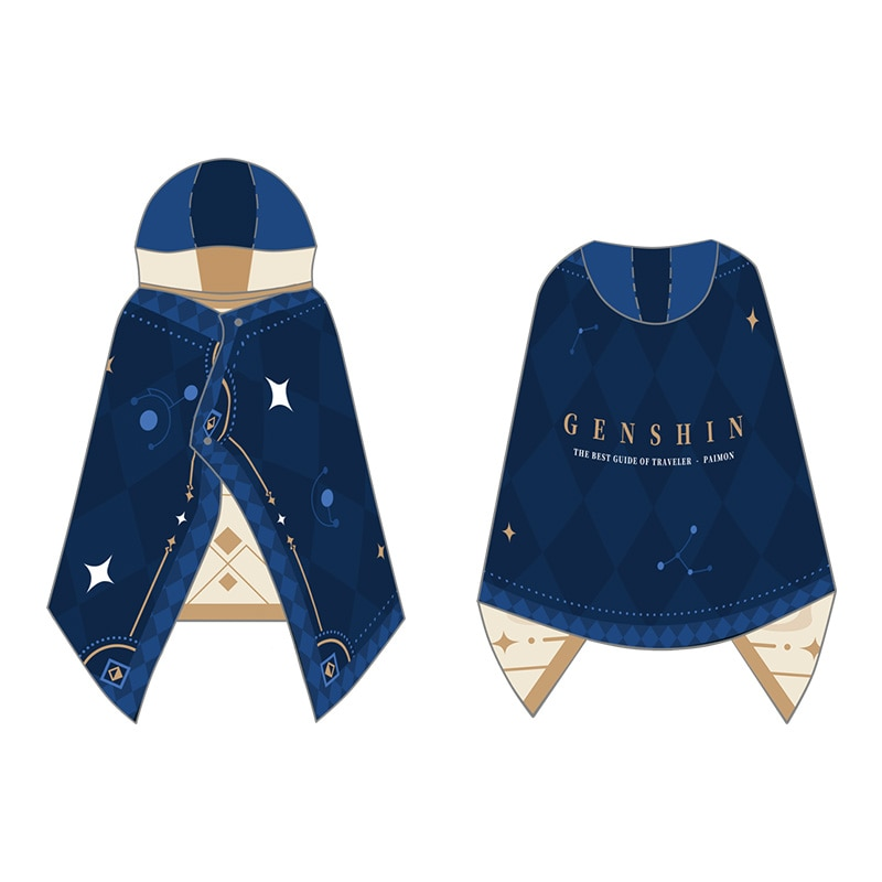 Anime Game Genshin Impact Paimon Cosplay Cloak Hooded Cape Coat Comfortable Unisex Double Layer Air Conditioner Blanket Shawl